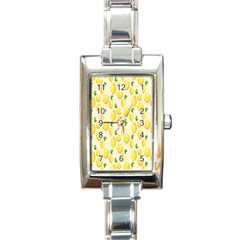 Pattern Template Lemons Yellow Rectangle Italian Charm Watch