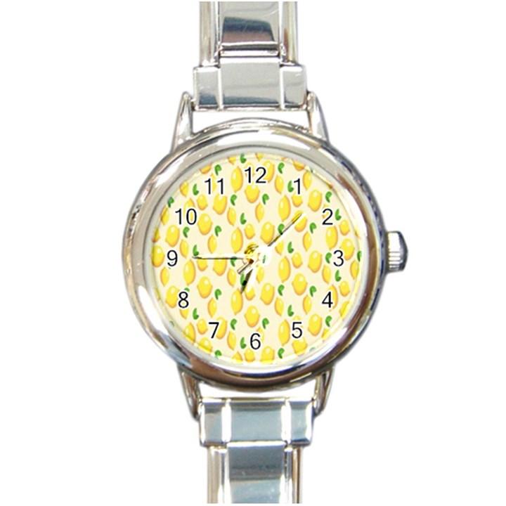 Pattern Template Lemons Yellow Round Italian Charm Watch