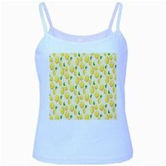 Pattern Template Lemons Yellow Baby Blue Spaghetti Tank