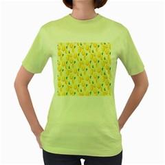 Pattern Template Lemons Yellow Women s Green T-Shirt