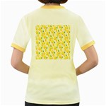 Pattern Template Lemons Yellow Women s Fitted Ringer T-Shirts Back
