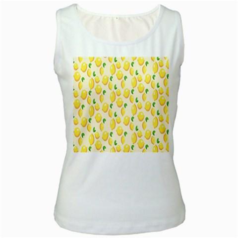 Pattern Template Lemons Yellow Women s White Tank Top