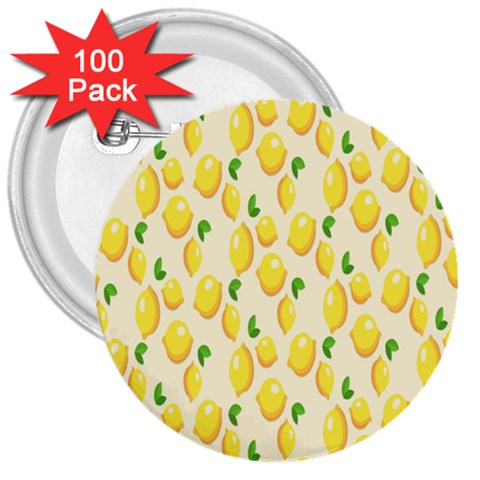 Pattern Template Lemons Yellow 3  Buttons (100 pack)