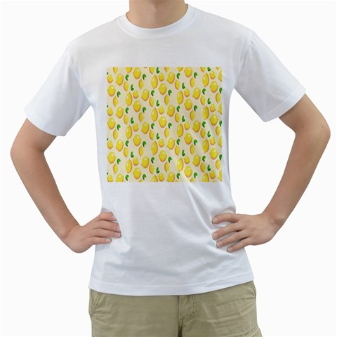 Pattern Template Lemons Yellow Men s T-Shirt (White) (Two Sided)