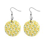 Pattern Template Lemons Yellow Mini Button Earrings Front