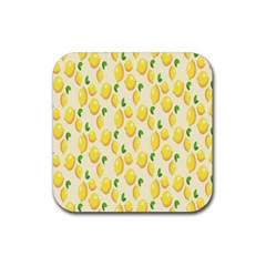 Pattern Template Lemons Yellow Rubber Square Coaster (4 pack)