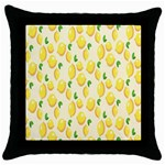 Pattern Template Lemons Yellow Throw Pillow Case (Black) Front