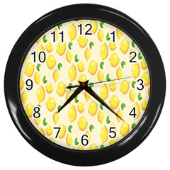 Pattern Template Lemons Yellow Wall Clocks (Black)