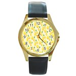 Pattern Template Lemons Yellow Round Gold Metal Watch Front