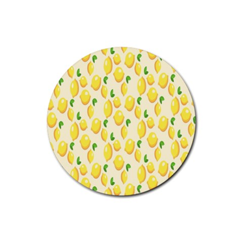 Pattern Template Lemons Yellow Rubber Coaster (Round)