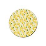 Pattern Template Lemons Yellow Rubber Round Coaster (4 pack)  Front