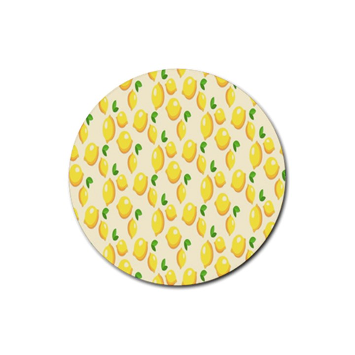 Pattern Template Lemons Yellow Rubber Round Coaster (4 pack)