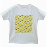 Pattern Template Lemons Yellow Kids White T-Shirts Front