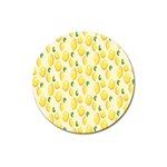 Pattern Template Lemons Yellow Magnet 3  (Round) Front