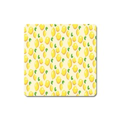 Pattern Template Lemons Yellow Square Magnet