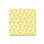 Pattern Template Lemons Yellow Square Magnet Front