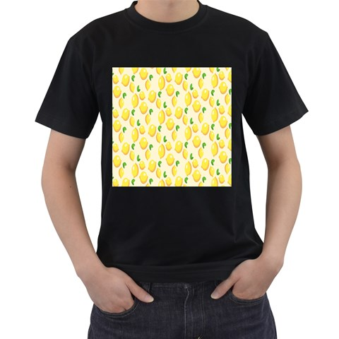 Pattern Template Lemons Yellow Men s T-Shirt (Black) (Two Sided)