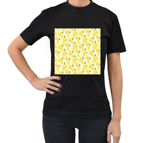 Pattern Template Lemons Yellow Women s T-Shirt (Black) (Two Sided)