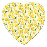 Pattern Template Lemons Yellow Jigsaw Puzzle (Heart) Front