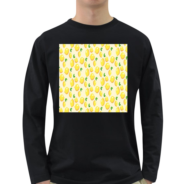 Pattern Template Lemons Yellow Long Sleeve Dark T-Shirts