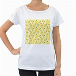 Pattern Template Lemons Yellow Women s Loose-Fit T-Shirt (White) Front