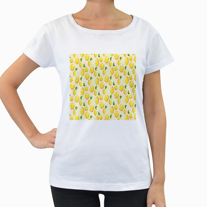 Pattern Template Lemons Yellow Women s Loose-Fit T-Shirt (White)