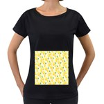 Pattern Template Lemons Yellow Women s Loose-Fit T-Shirt (Black) Front