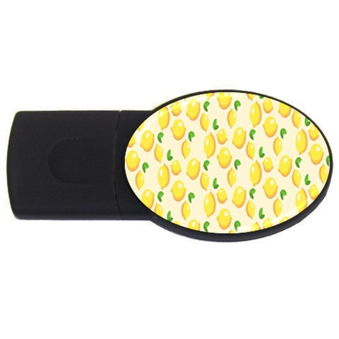 Pattern Template Lemons Yellow USB Flash Drive Oval (4 GB)