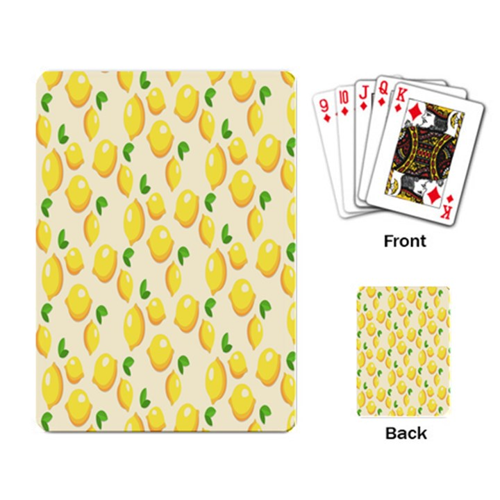 Pattern Template Lemons Yellow Playing Card