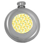 Pattern Template Lemons Yellow Round Hip Flask (5 oz) Front