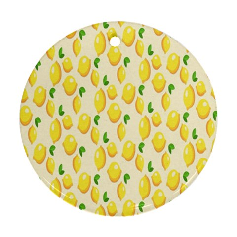 Pattern Template Lemons Yellow Round Ornament (Two Sides)