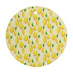 Pattern Template Lemons Yellow Round Ornament (Two Sides)  Back