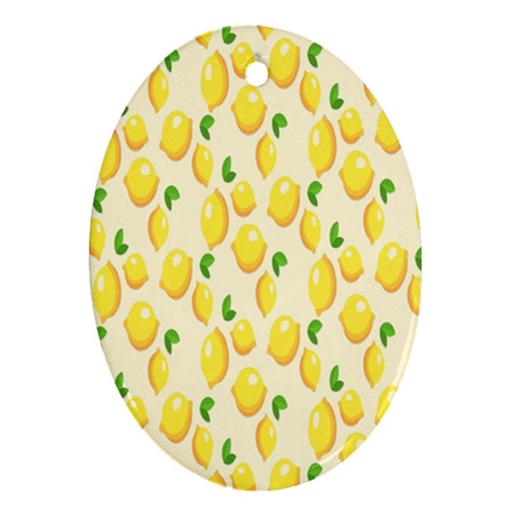 Pattern Template Lemons Yellow Oval Ornament (Two Sides)