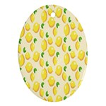Pattern Template Lemons Yellow Oval Ornament (Two Sides) Back