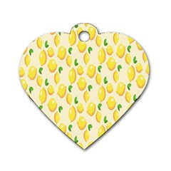 Pattern Template Lemons Yellow Dog Tag Heart (Two Sides)