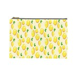 Pattern Template Lemons Yellow Cosmetic Bag (Large)  Front