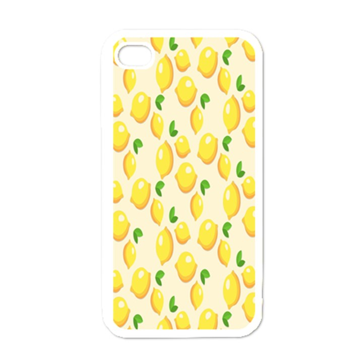Pattern Template Lemons Yellow Apple iPhone 4 Case (White)