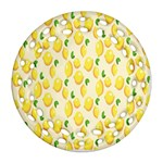 Pattern Template Lemons Yellow Round Filigree Ornament (2Side) Front