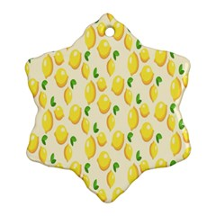 Pattern Template Lemons Yellow Snowflake Ornament (2-Side)