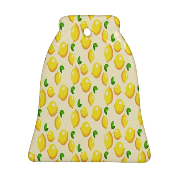 Pattern Template Lemons Yellow Bell Ornament (2 Sides)