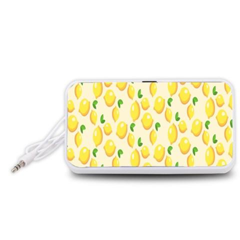Pattern Template Lemons Yellow Portable Speaker (White)