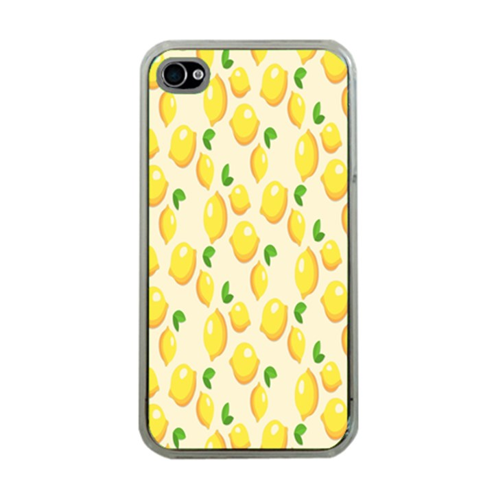 Pattern Template Lemons Yellow Apple iPhone 4 Case (Clear)