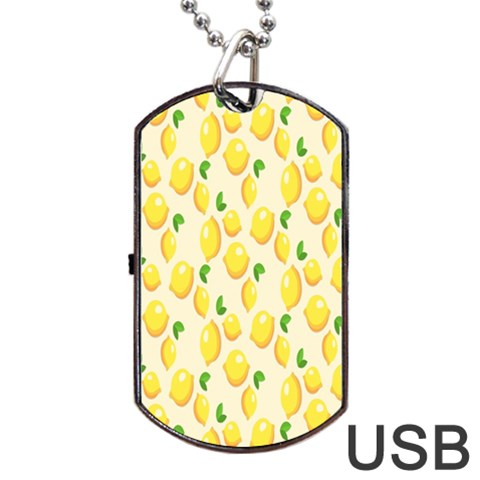 Pattern Template Lemons Yellow Dog Tag USB Flash (One Side)