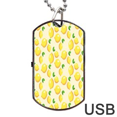 Pattern Template Lemons Yellow Dog Tag USB Flash (Two Sides)