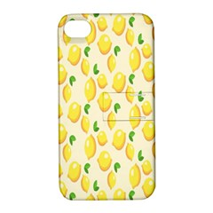 Pattern Template Lemons Yellow Apple iPhone 4/4S Hardshell Case with Stand
