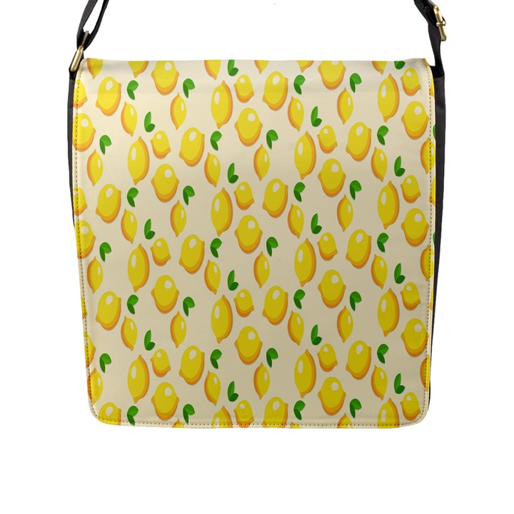 Pattern Template Lemons Yellow Flap Messenger Bag (L)
