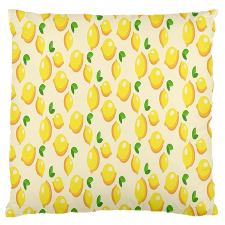 Pattern Template Lemons Yellow Large Flano Cushion Case (One Side)