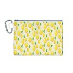 Pattern Template Lemons Yellow Canvas Cosmetic Bag (M) Front