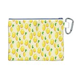 Pattern Template Lemons Yellow Canvas Cosmetic Bag (L) Back
