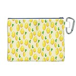 Pattern Template Lemons Yellow Canvas Cosmetic Bag (XL) Back